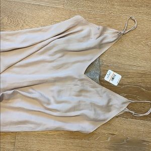 Free people nude silk shirt with lace detailing